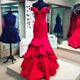 Vestido Madre Novia 2016 Red Long Mermaid Evening Dresses Off Shoulder Satin Floor Length Prom Gowns Formal Special Occasion Party Dress