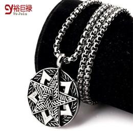 2016 No Fade Men Women Titanium Star Pendant Iced Out Vintage Silver Long Pendant Necklace Rolo Chain Hip Hop Fashion Jewelry
