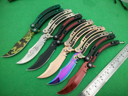 Wholesale Cross Fire Butterfly Knife Balisong Zn Al Handle blade Spring latch colors