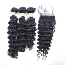 "100% Real Virgin remy Peruvian hair bundles weaving 4pcs lot deep wave human hair with closure 4x4"" bleached knots"