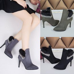 2017 women shoes fashion luxury Winter new high-heeled boots women feel fine with pointed suede black nude boots fur plus cashmere shoes
