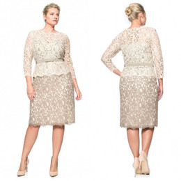 Plus Size Special Occasion Dresses Full Lace Bateau Long Sleeve Evening Gowns Knee Length Sheath Mother Of The Bride