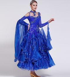 black pool blue embroidery flower customize Fox trot ballroom Waltz tango salsa Quick step competition dress