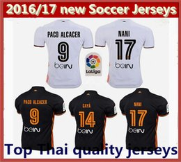 Top Thai quality 2016 2017 valencia white Home Jersey Soccer shirt 16 17 valencia cf FOOTBALL SHIRTS valencia cF away black Football shirt