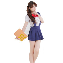 2017 mignon cosplay fille Vente en gros-School Girl Cosplay Costume Sexy Robe Costume Chemise blanche Mignon Sexy Gril Jeux de rôle Costume Sexy Set Vêtements Fille mignon cosplay fille sortie