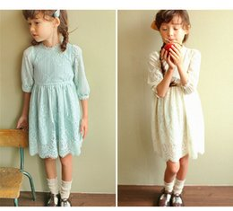 Wholesale Cute Dress Korea Girl - Summer Girl Dresses Lovely Fashion Lace Dresses Patchwork Kids Long Sleeves Clothing Dress Korea Princess Cute Party Gowns