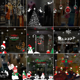 Wholesale Christmas Window Stickers shop window or glass background decoration removable art design murals stickers decoration