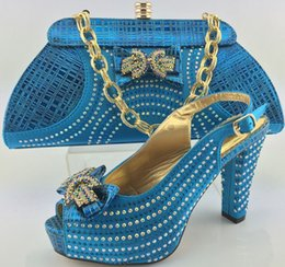 Wholesale Cherry Lady Italian matching shoe and bag sets for party wedding T Blue African women shoes and bag set with
