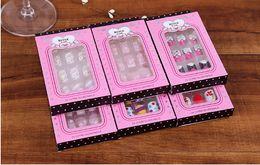 BEAUTY 12 pieces of finished fake nail, diamond, color printing nail paster, bridal art nail, Nail Drill with glue