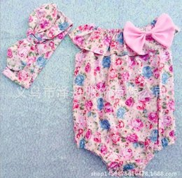 Wholesale 2016 INS hot baby girl kids piece sets Summer clothes Floral romper diaper covers bloomers bowknot bow headband headwrap bunny ear Cute