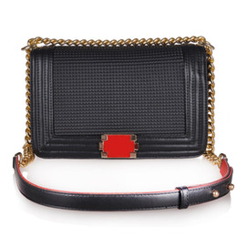 Wholesale Ladies Bags Chains - TOP Quality Women's Classic Designer Boy Flap Bag, Famous Brand Quilted Chain Lambskin Caviar Leather with Flaps Quilted Chain Handbag