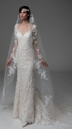 Wholesale long sleeves lace wedding dresses scallop v neck elegant wedding gowns illusion back chapel train bridal gowns