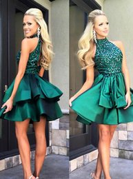 2016 Hunter Green Halter Neck Homecoming Dresses Navy Beaded Crystals Elegant Satin Custom Made Sexy Cocktail Evening Prom Party Dresses