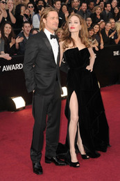 Wholesale Oscar Evening Dress Hollywood Famous Actress Angelina Jolie same red carpet dresses side split Party dress For special occasion Wear Z404
