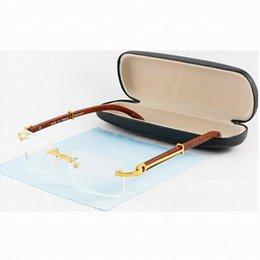 Wholesale france designer carter rimless plain glasses wood legs buffalo horn glasses for men lunettes de soleil wood bamboo carving eyewear frames