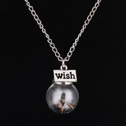 Wish Bottle Necklace Natural Dandelion Necklaces Water Drop Bottle Botanical Pendant Long Necklace For Woman Jewelry Y064
