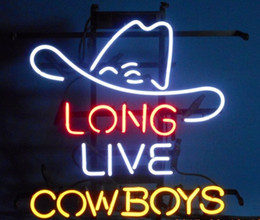 Promotion panneaux de cowboy New Long Live Cowboy Neon Sign Custom Real Verre Tube Bar Pub Game Room Décoration Affichage Commercial Handicrafted Bright Neon Signes 19
