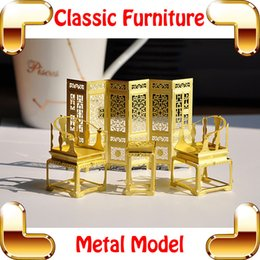 Wholesale New DIY Gift Classic Chinese Furniture D Model Building Kits Metal Model DIY Toys Tiny Handwork Art Collection For Decoration
