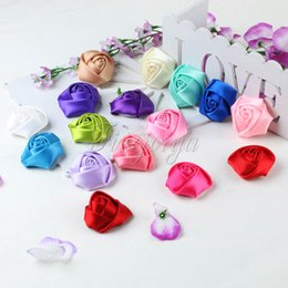 Wholesale 10Pcs Mini cm Satin Fabric Rose Flowers Heads Rosette Flowers For Baby Kids Headbands Hair Accessories