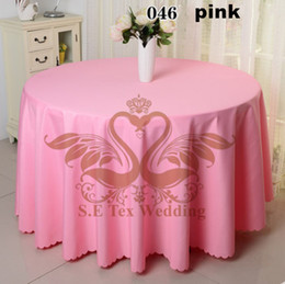 Pink Color Poly Table Cloth For Wedding \ Round For 10 Person Table Cloth