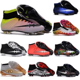 Wholesale Cheap High Ankle Neymar Kids Shoes Hypervenom Phantom ii Magista Obra Mercurial Superfly CR7 IC Indoor Soccer Cleats Mens Football Boots