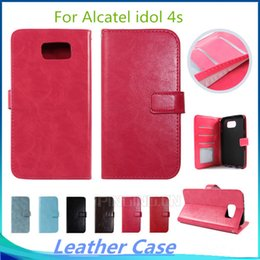 Fashion luxury Flip Wallet PU Leather pouch Case Cover Photo Frame Card Slots For Alcatel One Touch Pop 4 Alcatel idol 4s