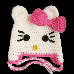 Lovely White Pink Kitty Hat,Handmade Knit Crochet Baby Girl Cartoon Cat Animal Earflap Hat with Bow,Toddler Photo Prop