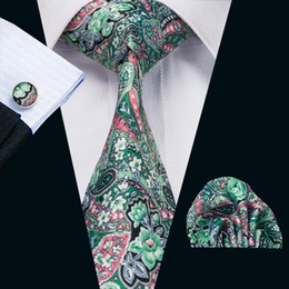 Mens Silk Printed Ties Red Green Mix Color Floral Business Wedding Tie Set Include Tie Cufflinks Hankerchief Freeshipping N-1232