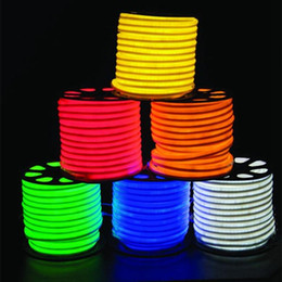 Eyoumy 50m lot 80pcs led M LED Neon Flex Red color soft neon light  220V waterproof flexible led strip rope light