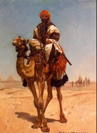 Wholesale Arab traders on camel through the desert Genuine Handpainted Portrait Art Oil Painting On High Quality Canvas in customized size accepted