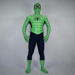 Venta al por mayor de alta calidad para adultos / Disfraces Infantiles verde de Halloween del hombre araña de Cosplay de los hombres de Lycra Zentai traje del super héroe del traje de cuerpo completo wholesale spandex body suits on sale desde trajes de cuerpo de spandex al por mayor proveedores