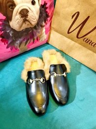 2015 fashion week choices! B065 40 black GENUINE LEATHER FUR HORSEBIT FLATS SLIDE SHOES
