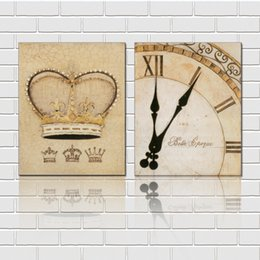 Unframed 2 Pieces art picture free shipping Canvas Prints Abstract oil painting clocks and watches an crown branch leaf fruit White flowers