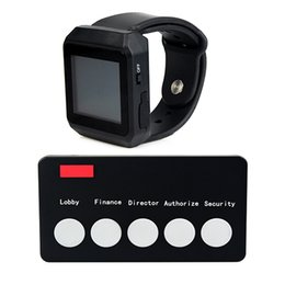 Wholesale New MHz Wireless Guest Paging Queuing System Call Pager For Bank With OLED Watch Receiver Call Transmitter Button F3195A7