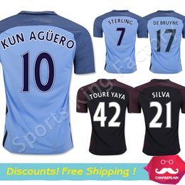 Wholesale Top thailand quality Manchesterss city home AGUERO DE BRUYNE STERLING TOURE YAYA Soccer uniform Kun Aguero football Jersey