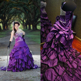 Gothic 2016 Purple Taffeta Cascading Ruffles Tiered A-line Wedding Dresses Vintage Sweetheart Beaded Lace Up Back Long Bridal Gowns EN80310