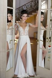 Wholesale Simple Elegant Dress Designs - Wedding Dresses Lace Iullsion Bodice Sexy Design Split Bridal Gowns Cheap Price Long Sleeve Fashion Design Beautiful CHeap Price Elegant
