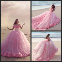 2016 Quinceanera Dresses Baby Pink Tulle Ball Gowns Off the Shoulder Corset Sweet 16 Prom Dresses with Hand Made Flowers