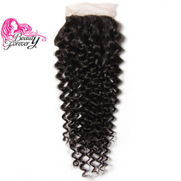 Beauty Forever Brazilian Curly Human Hair Lace Closure 10-20 inch 4*4 Free Part Swiss Lace Hair Closure 120% Density Natural Color Closure