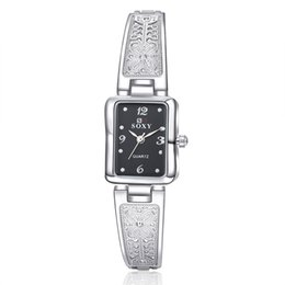 Wholesale Women Vine Watches New Brand SOXY Elegant Luxury Quartz Fashion Rectangle Dial Watch Carved Patterns Bracelet Casual WristWatches
