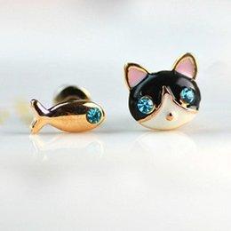 Promotion fille chat cru 2016 Nouveau mode Les bijoux coréens petit chat et de cristal de poisson d'oreilles mignon vintage pour les femmes cadeau fille E571
