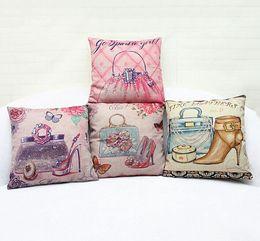 Girls Love Decor Elegant Bags Dress Up Decorative Pillow Case Cover Euro Pillows Travel Emoji Home Decor Vintage Gift