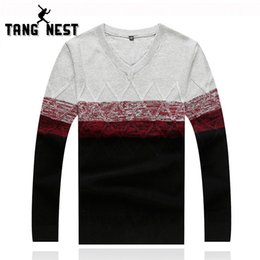 Wholesale-Men's Sweater 2016 Men's V-neck New Arrival Fitness Casual Sweater Patchwork Warm Asian Size Knitted Sweater Pullovers MZM391