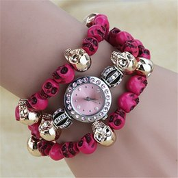 Wholesale Halloween Personality Skulls Ladies Watch Colors Crystal Quartz Watch High Grade ABS UAS Adjustable Band Wrist Watch for Women F225