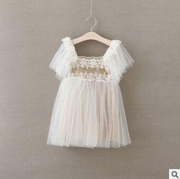 Sweet girl Dress 2016 New Lace Flower Tulle Kids Tutu Dresses Summer Korean Sweet Gauze Children Party Dresses Princess Clothes 6314