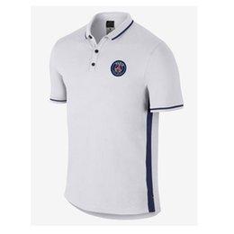 Wholesale 2016Of the highest quality polo PSG shirt Paris st germain football club white shirt collar shirt commercial