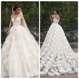 Wholesale 2017 Wedding Dresses Sheer Tulle Crew Chapel Train Lace Bridal Gowns Inspired by Millanova Barbara Custom From China Formal Wedding