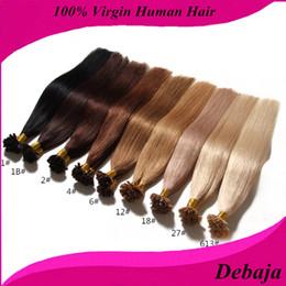 Descuento marrón recta armadura brasileña del pelo 7A de Remy del pelo de la extremidad del pelo humano de la extremidad de las extensiones rectas libres del pelo humano 0.5g / stand 50g / pack Negro Blonde 9 colores