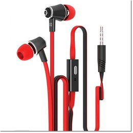 Descuento bajo plano Langston JM21 Super Bass In-Ear Earphone 3.5mm Jack Stereo Headphone 1.2m Flat Cable con micrófono para iPhone 6 6 Plus 5 5S