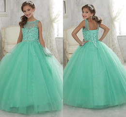 Wholesale 2016 Cute Mint Green Little Girls Pageant Dresses Tulle Sheer Crew Neck Beaded Crystals Corset Back Flower Girls Birthday Princess Dresses